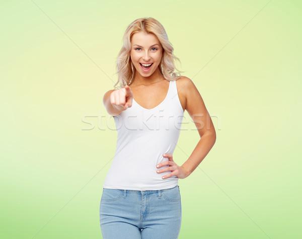 Feliz sorridente mulher jovem cabelo loiro escolha moda Foto stock © dolgachov