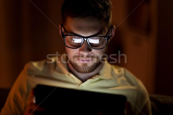 молодым человеком сетей ночь технологий интернет Сток-фото © dolgachov