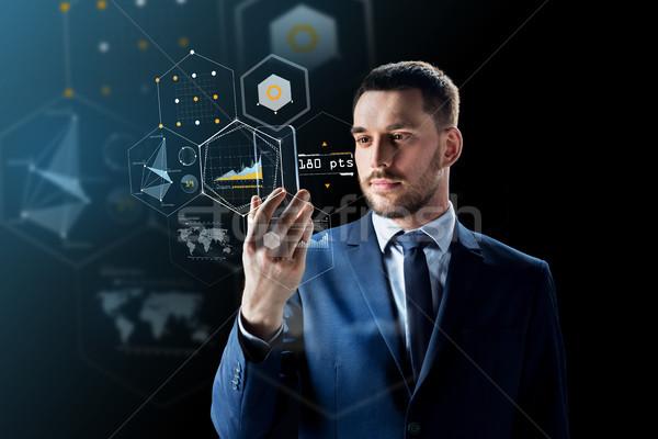 Işadamı sanal iş gerçeklik gelecek Stok fotoğraf © dolgachov