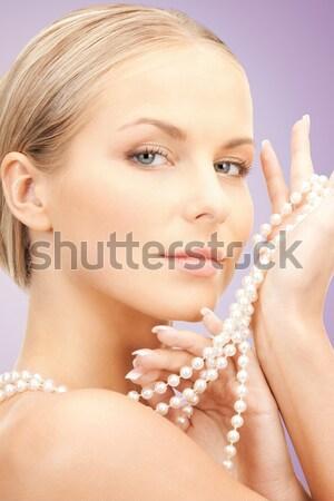 Belle femme perle perles photos femme visage Photo stock © dolgachov
