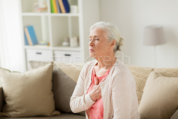 senior woman suffering from heartache at home Stock photo © dolgachov