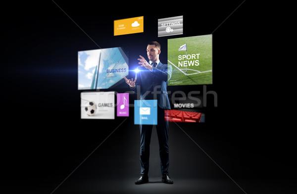 üzletember applikációk virtuális képernyő üzletemberek valóság Stock fotó © dolgachov
