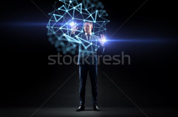ビジネスマン バーチャル 低い 投影 ビジネスの方々  現実 ストックフォト © dolgachov