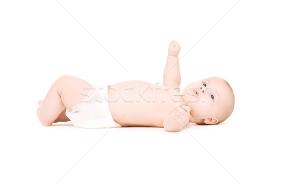 Leggen baby jongen luier foto witte Stockfoto © dolgachov