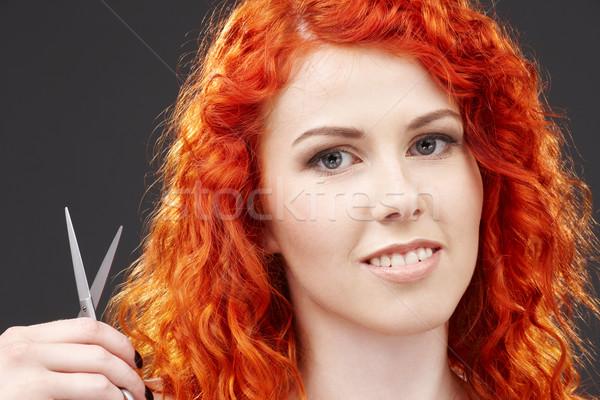 redhead with scissors #2 Stock photo © dolgachov