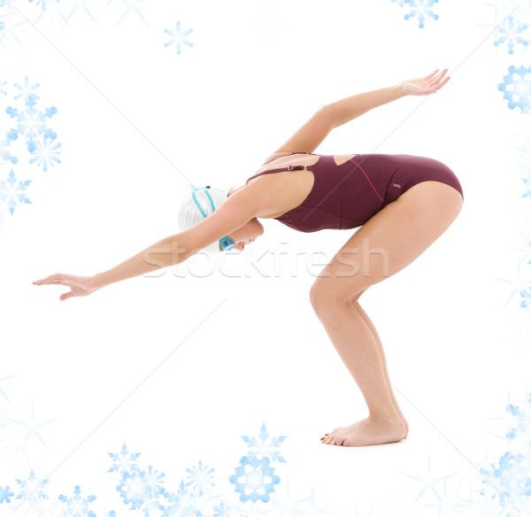 スイマー 明るい 画像 女性 雪 少女 ストックフォト © dolgachov