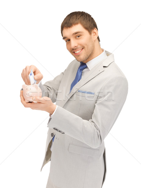 Stockfoto: Man · spaarvarken · geld · foto · knappe · man · business