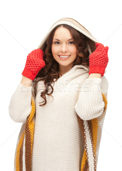 Bella donna muffole luminoso foto donna inverno Foto d'archivio © dolgachov