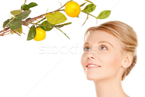 Сток-фото: женщину · лимона · веточка · фотография · лице · фрукты