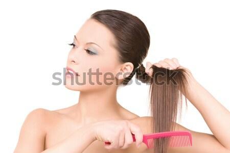 Mooie vrouw kam heldere foto vrouw haren Stockfoto © dolgachov