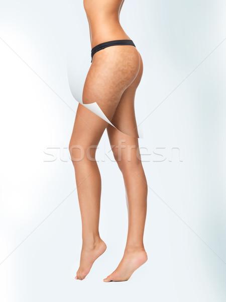 Piel limpiar primer plano Foto mujer algodón Foto stock © dolgachov