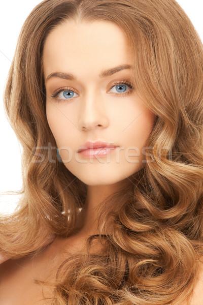 красивая женщина длинные волосы здоровья красоту лице женщину Сток-фото © dolgachov