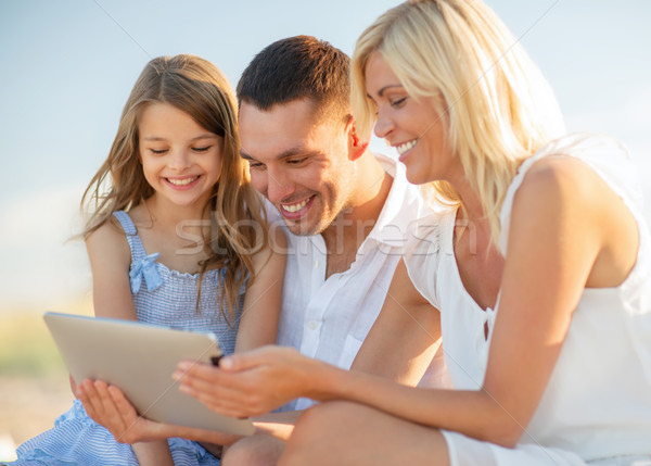 happy family with tablet pc taking picture Stock photo © dolgachov