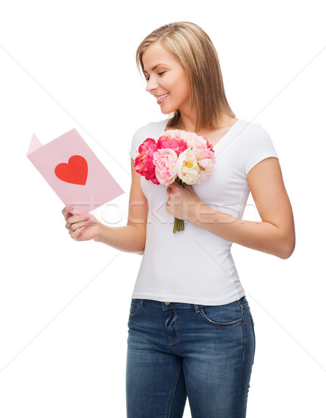 smiling girl with postcard and bouquet of flowers Stock photo © dolgachov
