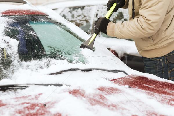 closeup of man scraping ice from car Stock photo © dolgachov