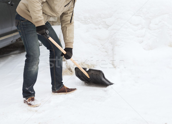 closeup of man shoveling snow from driveway Stock photo © dolgachov