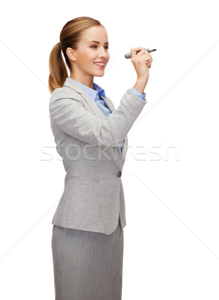 Geschäftsfrau schriftlich etwas Luft Marker Büro Stock foto © dolgachov