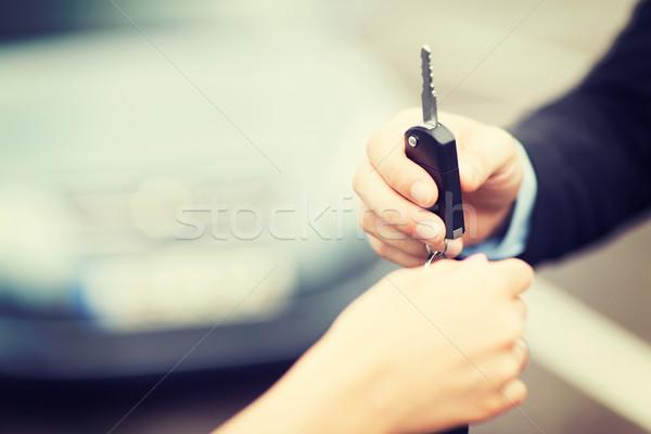 Photo stock: Client · vendeur · transport · propriété · à · l'extérieur