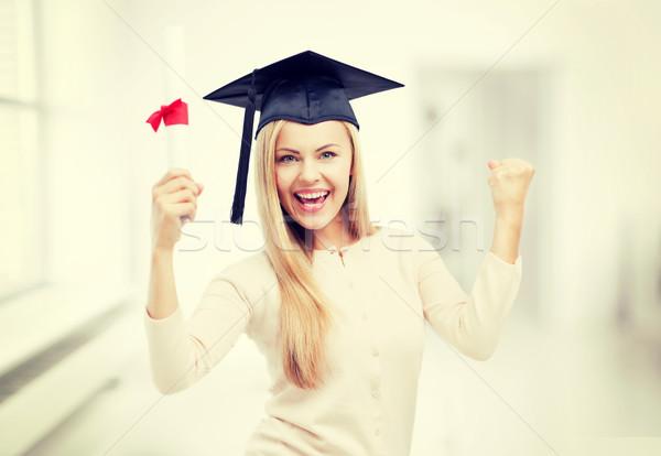 Stock fotó: Diák · érettségi · sapka · bizonyítvány · boldog · nő