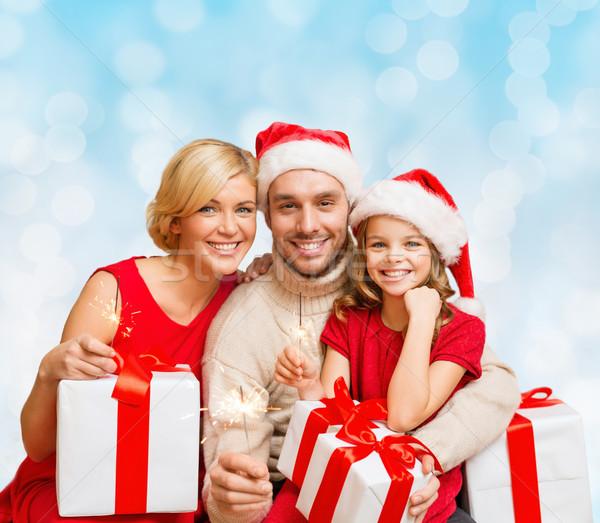 Szczęśliwą rodzinę Święty mikołaj pomocnik christmas Zdjęcia stock © dolgachov