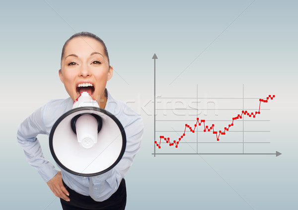 screaming businesswoman with megaphone Stock photo © dolgachov