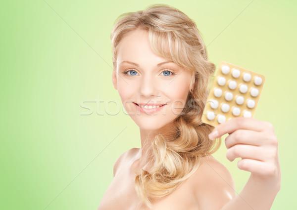 счастливым пакет таблетки люди Сток-фото © dolgachov