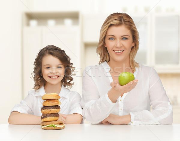 Anne kız insanlar aile sağlıksız gıda Stok fotoğraf © dolgachov