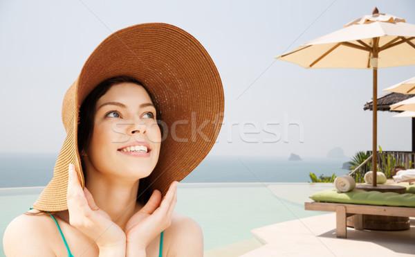 счастливым соломенной шляпе тропический пляж лет праздников Сток-фото © dolgachov