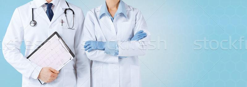 Nővér férfi orvos tart kardiogram gyógyszer emberek Stock fotó © dolgachov