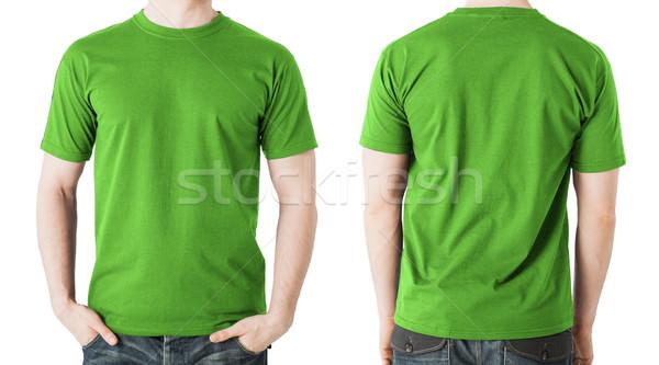 человека зеленый футболки вид сзади одежду Сток-фото © dolgachov