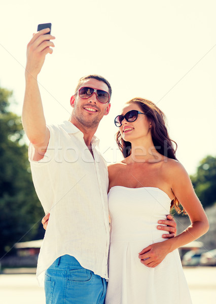улыбаясь пару город любви свадьба лет Сток-фото © dolgachov