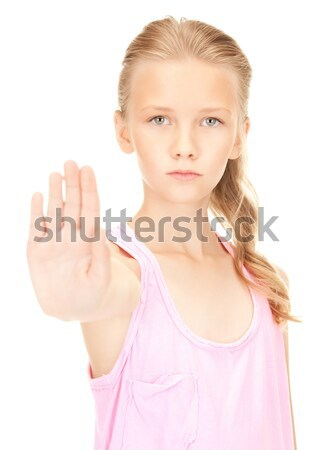 lovely girl showing stop sign Stock photo © dolgachov