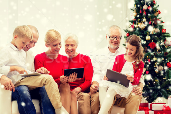 smiling family with tablet pc computers at home Stock photo © dolgachov
