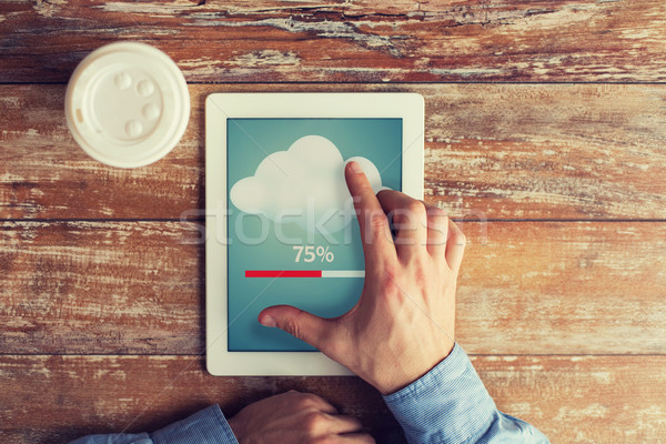 close up of hands with tablet pc transferring data Stock photo © dolgachov