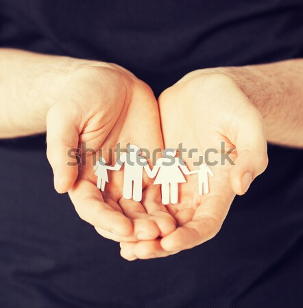 Stock photo: close up of happy male gay couple with love symbol