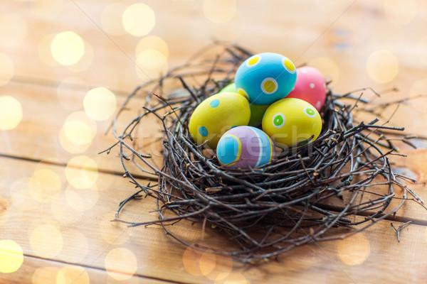 Colorato easter eggs nido legno Pasqua Foto d'archivio © dolgachov