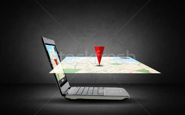 laptop computer with gps navigator map on screen Stock photo © dolgachov