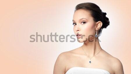 美しい アジア 女性 イヤリング 美 宝石 ストックフォト © dolgachov