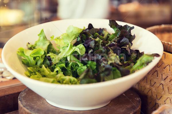 чаши зеленый Салат салата азиатских ресторан Сток-фото © dolgachov