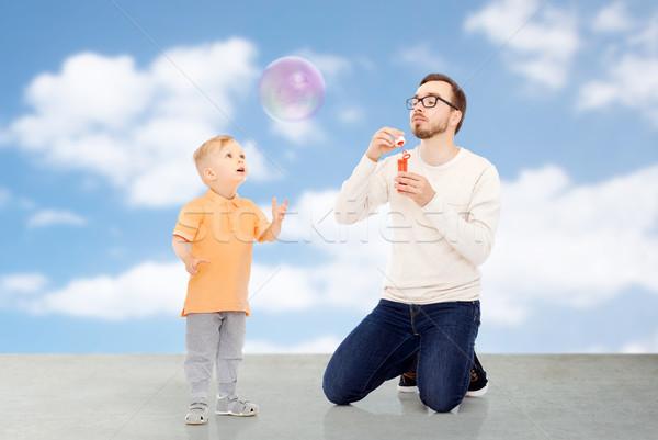 Père en fils famille enfance paternité Photo stock © dolgachov