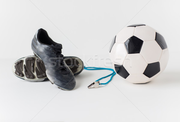 close up of soccer ball, whistle and boots Stock photo © dolgachov