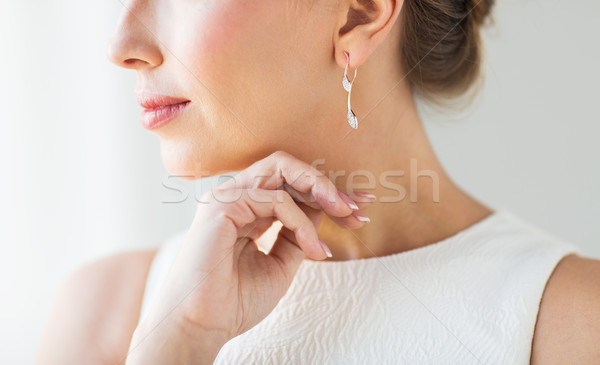 Photo stock: Belle · femme · visage · or · boucle · glamour