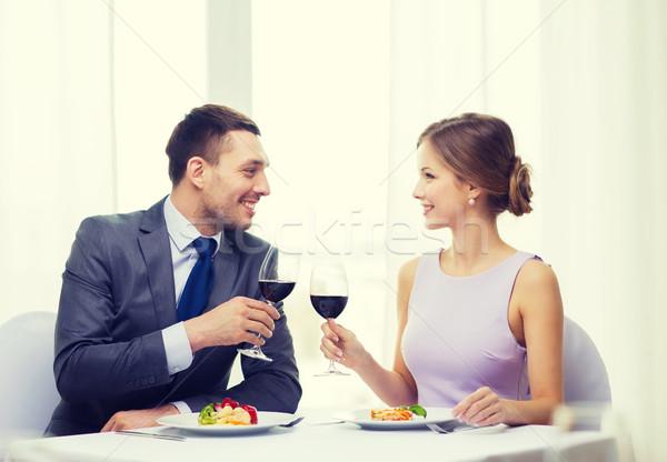 пару ресторан праздник улыбаясь Сток-фото © dolgachov