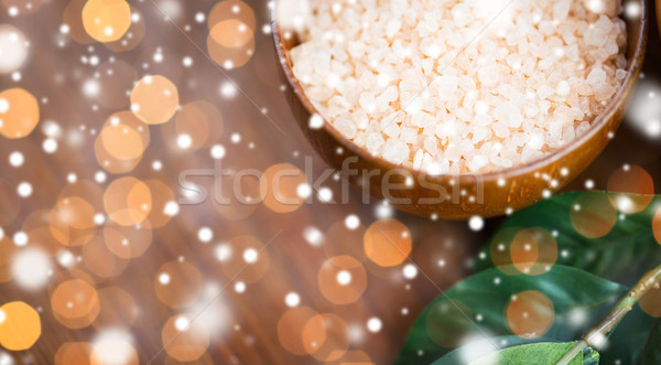 close up of himalayan pink salt in wooden bowl Stock photo © dolgachov