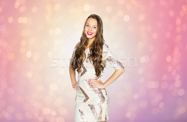 happy young woman or teen girl in fancy dress Stock photo © dolgachov