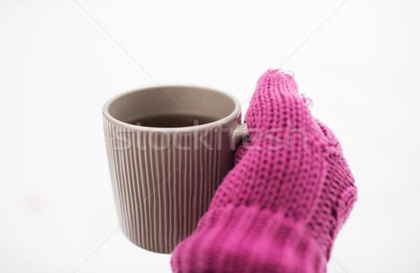 El kış çay kupa Stok fotoğraf © dolgachov