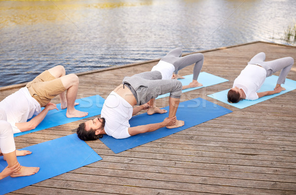 Grupy ludzi jogi odkryty fitness sportu Zdjęcia stock © dolgachov