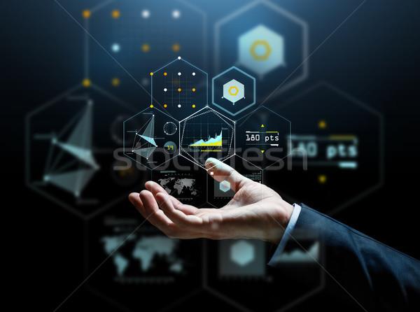 Közelkép üzletember kéz virtuális táblázatok üzletemberek Stock fotó © dolgachov