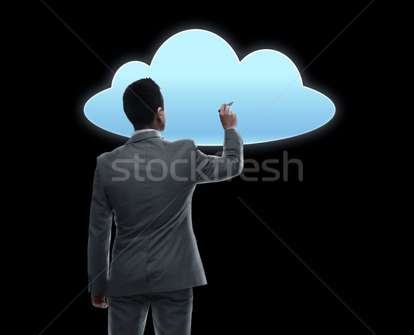 Empresário trabalhando virtual nuvem projeção pessoas de negócios Foto stock © dolgachov