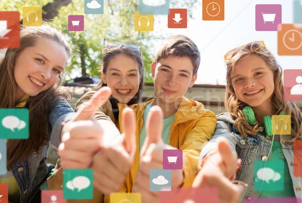 Stock fotó: Tini · barátok · diákok · mutat · remek · barátság